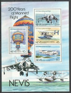PK364 NEVIS TRANSPORT AVIATION 200 YEARS OF MANNED FLIGHT 1KB MNH STAMPS
