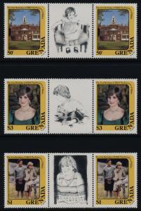 Grenada 1101A-3A Gutter Pairs MNH Princess Diana 21st Birthday