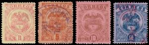 Colombia Scott 162-165 (1899) Mint/Used H F-VF Complete Set, CV $4.30 B