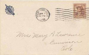 United States Colorado Rocky Ford 1933 machine  Blue Illustrated Corner card ...