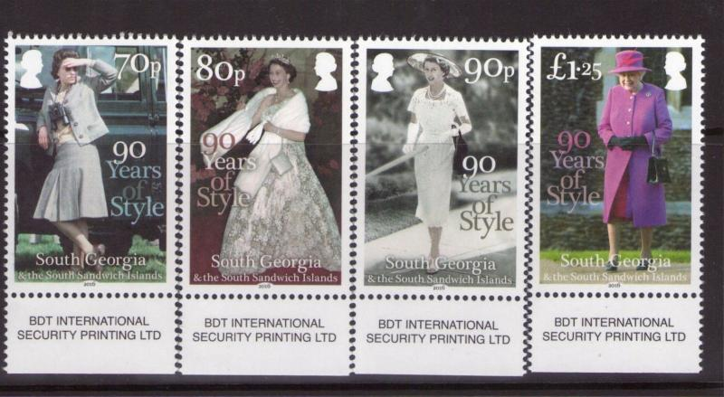 South Georgia 90 years of Style  superb MNH issued on 21-04-16