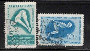 Uruguay Scott 628-629 Used swimming meet stamp set