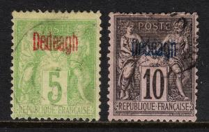 FRENCH OFFICES (TURKEY DEDEAGH) — SCOTT 2,3 — 1893-1900 OVPTS — USED —SCV $33.00