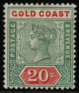 GOLD COAST SG24 1889 20/= GREEN & RED (RPS CERT) MTD MINT