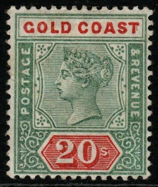 GOLD COAST SG24 1889 20/= GREEN & RED (RPS CERT) MTD MINT