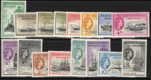 FALKLAND IS.DEP. SGG26/40 1954 SHIPS DEFINITIVE SET MTD MINT