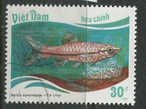 Viet Nam North - Scott 1836 - Tropical Fish -1988 - FU -Single 30d Stamp