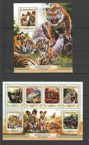ST877 2016 GUINEA-BISSAU ANIMALS FAUNA ENDANGERED KB+BL MNH STAMPS