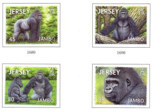 Jersey Sc 1616-9 2012 Jambo the Gorilla stamp set used