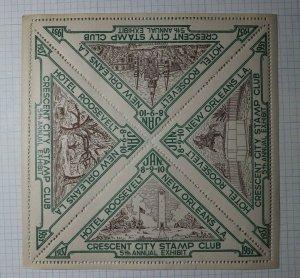 Crescent City Stamp Club Exhibit 1937 New Orleans LA Philatelic Souvenir Label