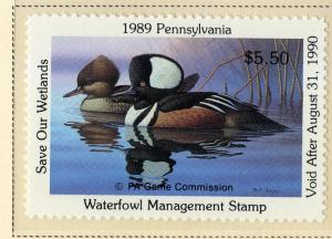 US PA7 PENN STATE DUCK STAMP 1989 MNH SCV $9.00 BIN $5.50