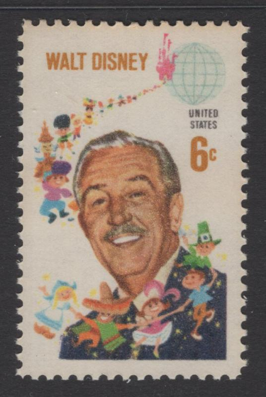 US 1968 Walt Disney & Children 6c Stamp Scott 1355 MNH