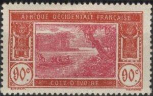 Ivory Coast 70 (mvlh) 90c river scene, brn red & rose (1930)