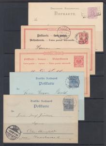 Germany Mi P12/P44 used. 1892-1900 Postal  Cards, 5 different, sound, F-VF.