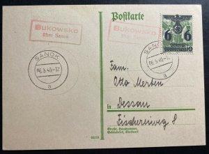 1940 Sanok Poland GG Germany Postcard Cover To Dessau Germany