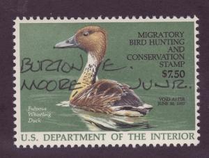 RW53 1986 $7.50 Federal Duck (Moore-dec.) VF-OGNH-Artist Signed -EBAY LOW=$140
