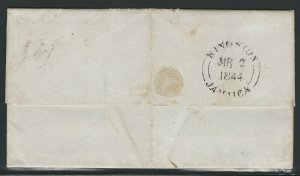 Jamaica, 1844 Stampless Cover, Sent from Kingston to Mayhill, Rare Postmarks