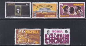Nigeria # 340-344, Traditional Musical Instruments, NH, 1/2 Cat.