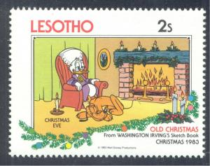 Disney; Scrooge McDuck and Pluto. Christmas. 1983 Lesotho, Scott #413