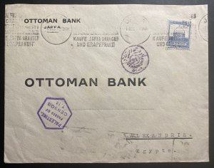 1939 Jaffa Palestine Censored Cover To Ottoman Bank Alexandria Egypt