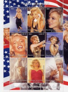 Congo 2001 Marilyn Monroe American Actress 9v Mint Full Sheet. (L-11)