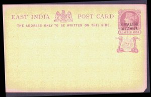 EAST INDIA Mint Post Card  Black Gwalior  & Red Snake Overprint ¼ Anna MNH