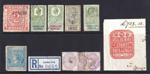 GREAT BRITAIN REVENUE STAMPS COLLECTION LOT SOME UNUSUAL