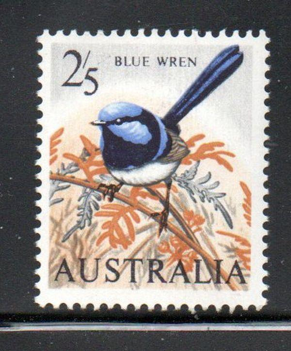 Australia Sc 371 1963 2/ 5d Blue Wren stamp mint NH