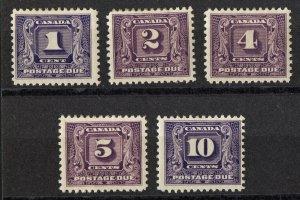 cd7 Canada Scott #J6-J10 postage dues mint hinged, CV = $169.50