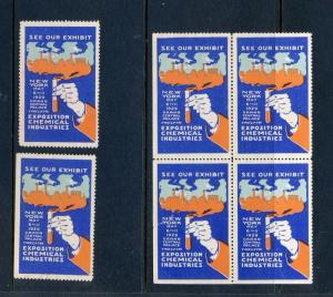 6 VINTAGE 1929 CHEMICAL INDUSTRIES EXPO POSTER STAMPS (L662) NEW YORK NYC
