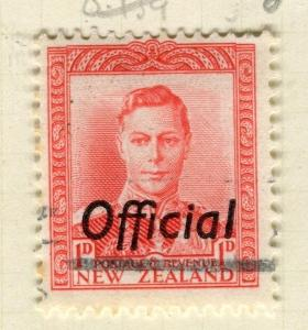 NEW ZEALAND;  1938 early OFFICIAL issue fine used 1d. value