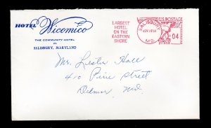 ADVERTISING COVER HOTEL WICOMICO (HISTORIC) SALISBURY MD 4¢ SLOGAN METER CANCEL