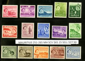 MAURITIUS 252-265 MH SCV $65.15