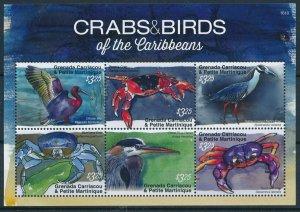 [108769] Carriacou, Petite Martinique 2016 Birds crabs Heron Mini sheet MNH