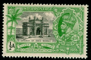 INDIA SG240w, ½a black & yellow-green, M MINT.