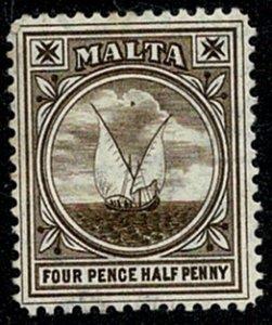 MALTA KE VII 1904-14 4 1/2d BROWN UNUSED (MH) SG57 Wmk.MCCA P.14 VGC