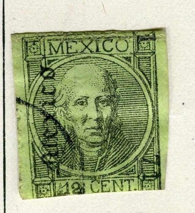 MEXICO; 1868 early classic Imperf Hidalgo issue fine used 12c. value