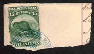 1870 CANADA QUEBEC REVENUE SCARCE 15c #QR6 BEAVER CDS MONTREAL ON PIECE C SCAN