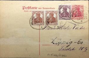 ALLEMAGNE / DEUTSCHLAND 22.I.1922 Mi.103a (x2) & Mi.142a auf Mi.P123F ZUG 3813