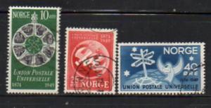 Norway Sc 299-301 1949 UPU Anniversary stamp set used