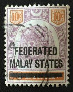 Malaya 1900 FEDERATED MALAY STATES FMS opt PERAK 10c USED SG#10 M3083