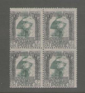 Libia italiana 1921 Sc 22 BLK of 4 MNH