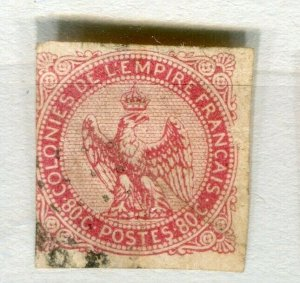 FRENCH COLONIES; 1859 early classic Imperf Eagle issue used 80c. value