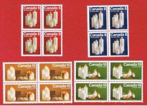 Canada #606-609  MNH OG blocks of 4 Christmas  Free S/H