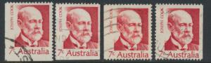 Australia  Sc# 515 Joseph Cook   Used x4  Booklet stamps see details