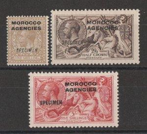 MOROCCO AGENCIES : 1914 KGV Seahorses set, SPECIMEN, wmk simple cypher.