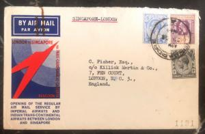 1933 Singapore Straits Settlements first Flight cover FFC To London England