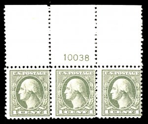 U.S. #525 MINT PL# Strip OG NH