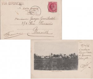 Aden India 1a KEVII 1904 Aden Camp PPC (Lahej, General View) to Marseille, Fr...