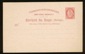 NORWAY Mi. P37 POSTAL STATIONERY POSTAL CARD 10o